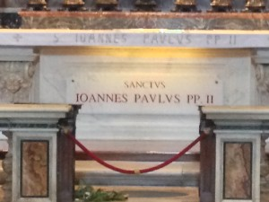 "The last time I was in St. Peter's, this tomb read ""Blessed John Paul II."" Now it says, ""Saint John Paul II."""