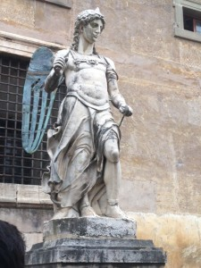 One of the early statues of St. Michael the Archangel to top the castle (turns out they had some problems  with the bronze wings and attracting lightning!)
