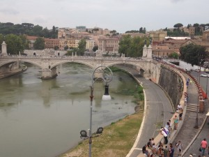 A view of the Tiber River from the top of Castel Sant'Angelo