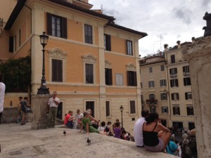 When you sit on the Spanish steps, the apartment John Keats lived (and died) in is just to your left.
