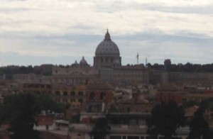View of St. Peter's from the Villa Borghese gardens overlooking Piazza del Popolo
