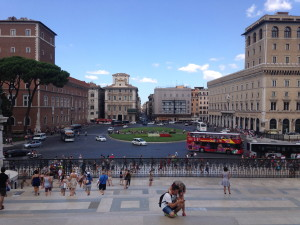Piazza Venezia from the steps of the Vittorio Emanuele Monument