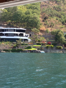 An expensive home along the lake
