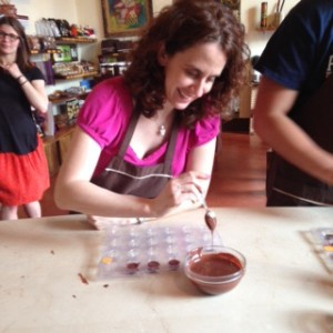Filling my mold with chocolate!