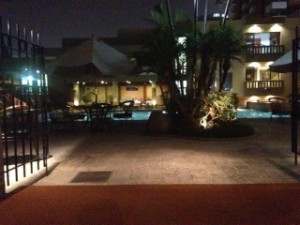 Picture of the pool from the dining area after we had dinner