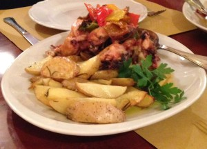 Roman style chicken with peppers and roasted potato