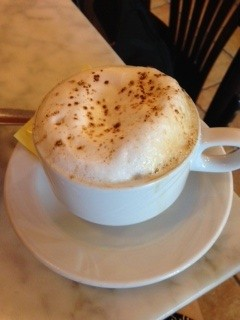 This is a cappuccino in Spain. Not as good as Italy, but still better than Starbucks.