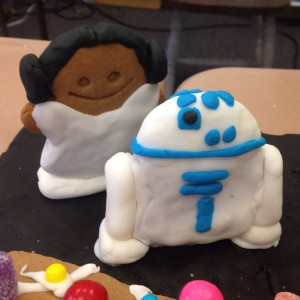 My gingerbread and fondant versions of Princess Leia and R2-D2 for a school gingerbread house decorating contest.