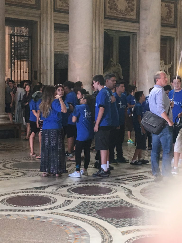 A youth group at the Santa Maria Maggiore Basilica.